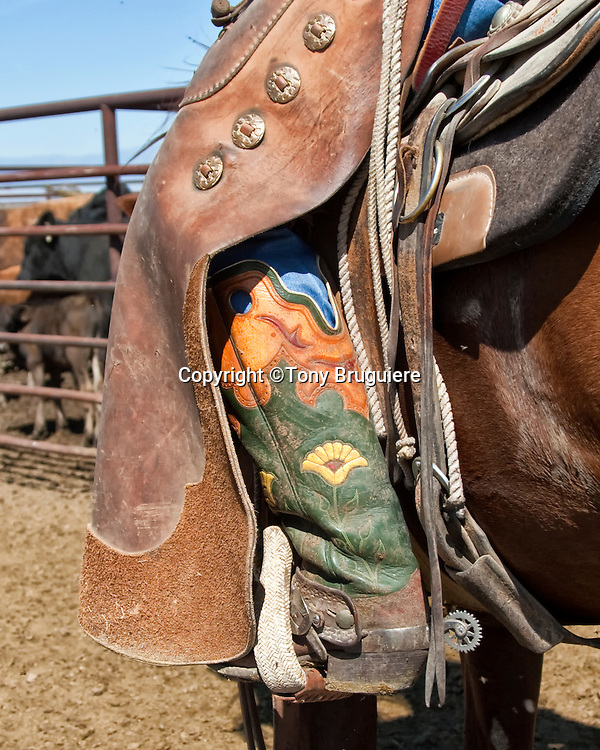 Boots and chaps are essential piece of equipment to the working cowboy. These are worn by Mark Bukowski of Colorado.