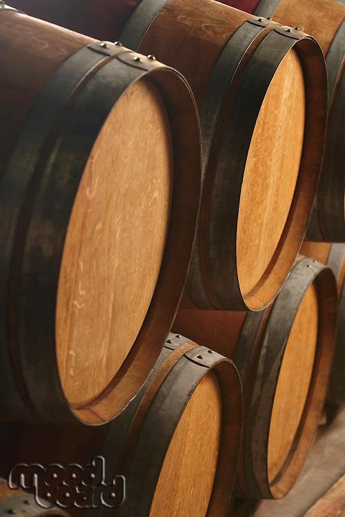 Wine casks lying down in order