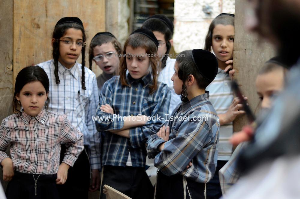 Ultra religious Neturei Karta Children, Mea Shearim, Jerusalem, Israel