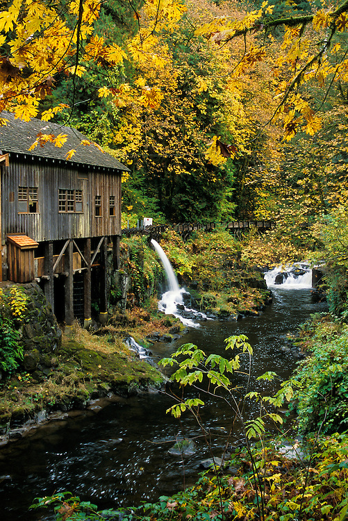 Cedar Creek Grist Mill in Fall; Clark County, Washington.  Built in 1876; listed on the National Register of Historic Places.