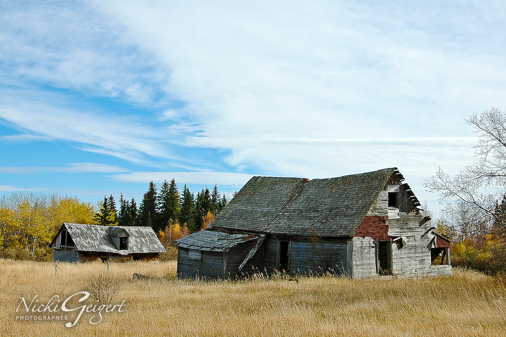 Architecture, barns on prairie.<br />