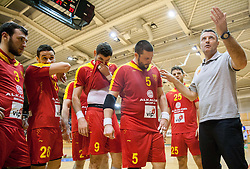 Ivica Obrvan, head coach of Macedonia with players during friendly handball match between National Teams of Slovenia and F.Y.R. of Macedonia on December 28, 2013 in Sports hall Polaj, Trbovlje, Slovenia. Photo by Vid Ponikvar / Sportida