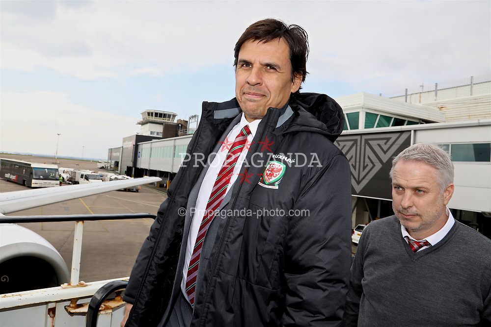 CARDIFF, WALES - Thursday, March 23, 2017: Wales' manager Chris Coleman boards the team plane as the squad depart Cardiff Airport to fly to Dublin ahead of the 2018 FIFA World Cup Qualifying Group D match against Republic of Ireland. (Pic by David Rawcliffe/Propaganda)
