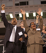 President Roderick McDavis and First Lady  Deborah McDavis cheers for the Marching 110 at Peden Stadium on Thursday, October 8, 2015. Photo by Kaitlin Owens