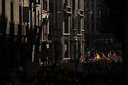 Students march for Catalan independence on October 26, 2017 in Barcelona, Spain. The Spanish government announced measures it will implement in triggering Article 155, which would lead to the imposition of direct rule by Spanish authorities in Catalonia and at least temporarily suspend the region's autonomy.