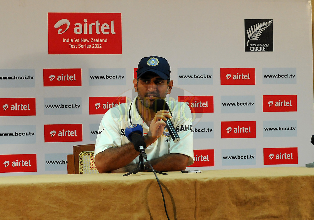 Mahendra Singh Dhoni captain of India addresses a press conference after the match on day four of the second test match between India and New Zealand held at the M. Chinnaswamy Stadium, Bengaluru on the 3rd September 2012..Photo by Pal Pillai/BCCI/SPORTZPICS