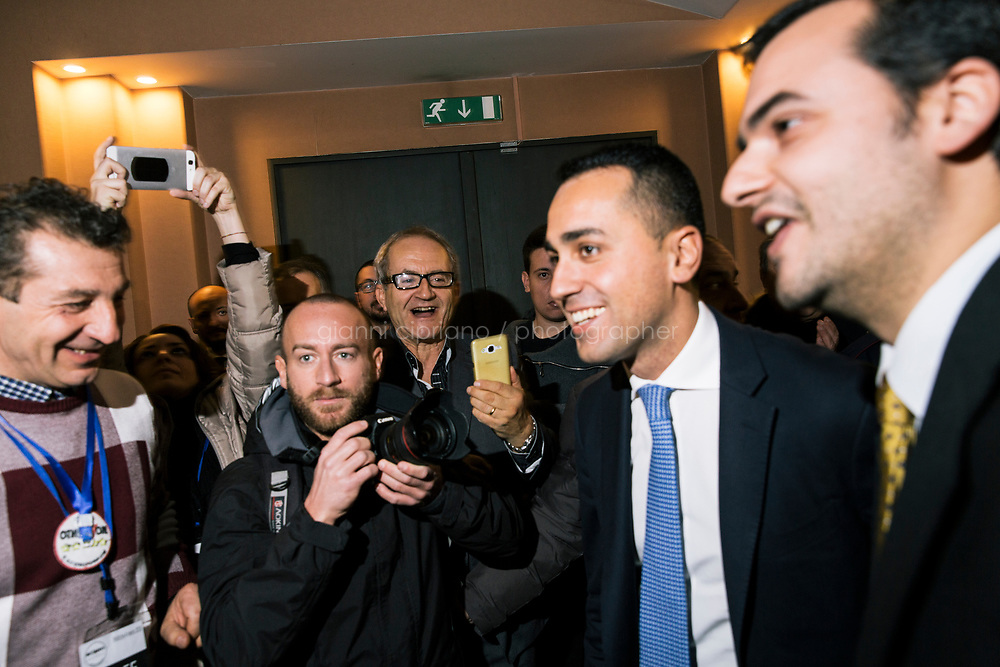 AVELLINO, ITALY - 11 FEBRUARY 2018: Luigi Di Maio (31), running for Prime Minister of Italy with the Five Stars Movement (M5S, Movimento 5 Stelle) arrives at a rally in Avellino, Italy, on  February 11th 2018.<br /> <br /> The 2018 Italian general election is due to be held on 4 March 2018 after the Italian Parliament was dissolved by President Sergio Mattarella on 28 December 2017.<br /> Voters will elect the 630 members of the Chamber of Deputies and the 315 elective members of the Senate of the Republic for the 18th legislature of the Republic of Italy, since 1948.