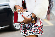Envelope Clutch and Red Nails, Outside Louis Vuitton FW2015