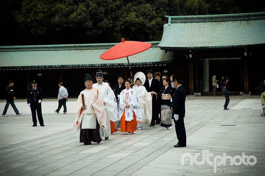Wedding procession at Meiji shrine, Tokyo Shinto temple