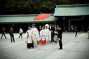 Wedding procession at Meiji shrine, Tokyo Shinto temple