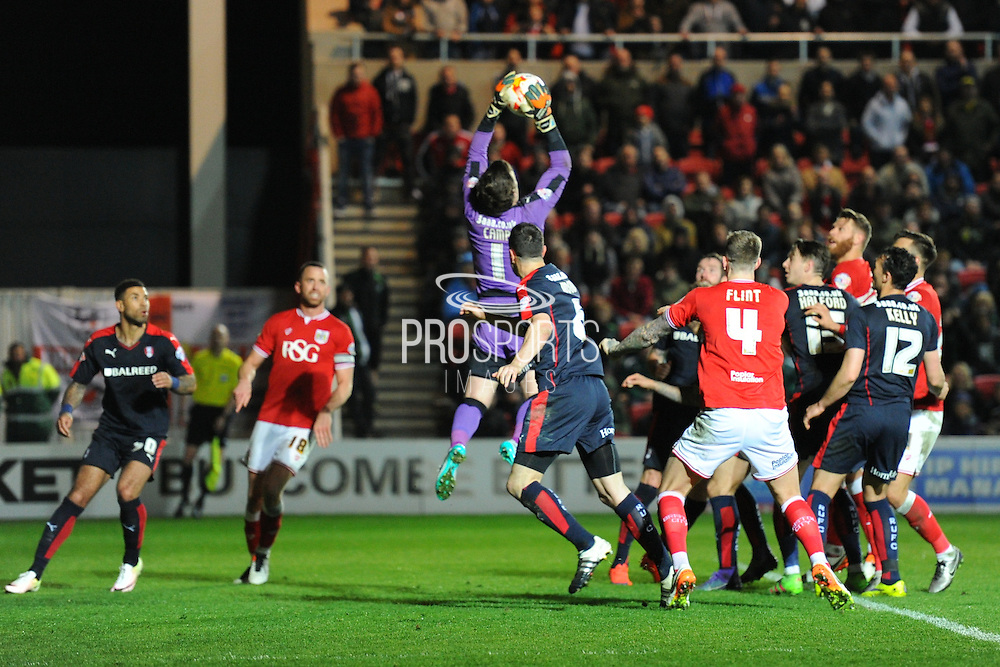 Rotherham United goalkeeper Lee Camp picks the ball out of the air during the Sky Bet Championship match between Bristol City and Rotherham United at Ashton Gate, Bristol, England on 5 April 2016. Photo by Graham Hunt.