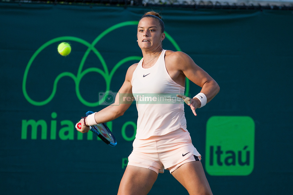 March 20, 2018 - Key Biscayne, FL, U.S. - KEY BISCAYNE, FL - MARCH 20: Maria Sakkari (GRE) competes during the qualifying round of the 2018 Miami Open on March 20, 2018, at Tennis Center at Crandon Park in Key Biscayne, FL. (Photo by Aaron Gilbert/Icon Sportswire) (Credit Image: © Aaron Gilbert/Icon SMI via ZUMA Press)