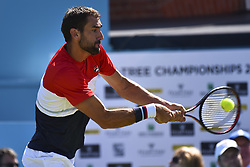 June 18, 2018 - London, England, United Kingdom - Marin Cilic of Croatia returns a shot during his men's singles match against Fernando Verdasco of Spain during Day One of the Fever-Tree Championships at Queens Club on June 18, 2018 in London, United Kingdom. (Credit Image: © Alberto Pezzali/NurPhoto via ZUMA Press)