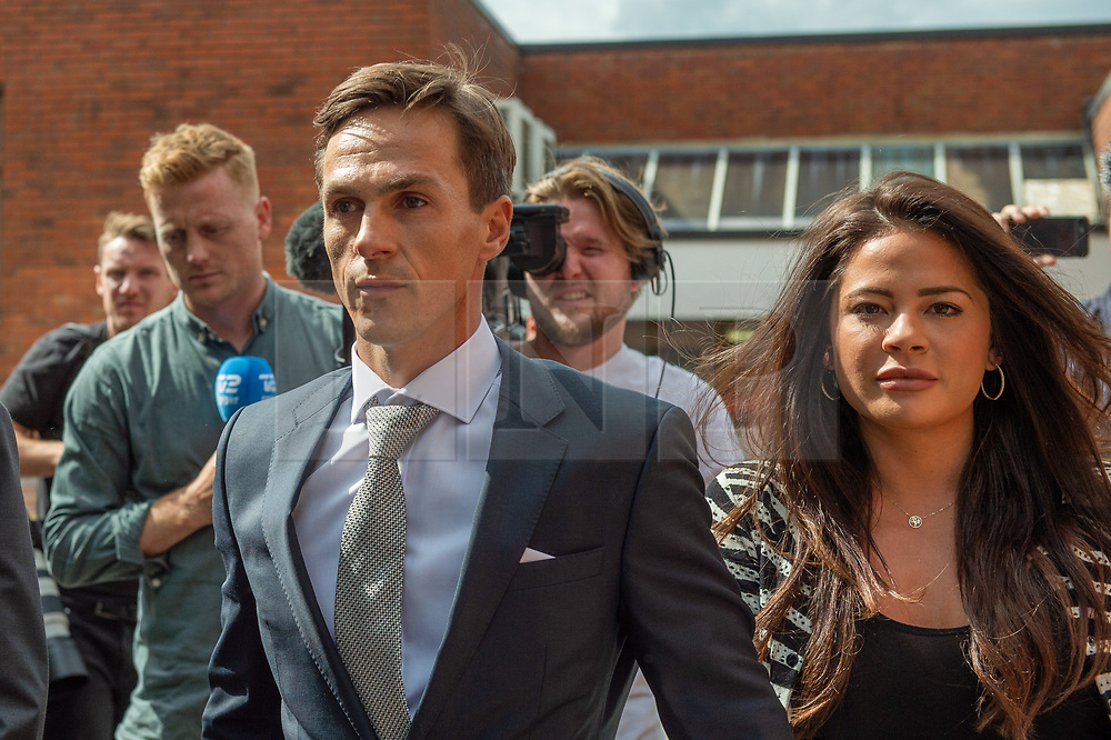 © Licensed to London News Pictures. 21/08/2019. London, UK.<br /> Ryder Cup golfer Thorbjorn Olesen departs Uxbridge Magistrates' court where he pled not guilty to charges of sexual assault, Olesen is also accused of being drunk on an aircraft, urinating in the first-class aisle and common assault. Olesen has been suspended from the European Tour until the outcome of the trial. Photo credit: Peter Manning/LNP