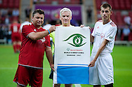 "(L) Famous former Polish soccer player Roman Kosecki & (C) Former President of Polish Football Association Michal Listkiewicz before demonstration match of the Special Olympics as part of the Respect Inclusion ""Football With No Limits"" before the UEFA EURO 2012 Quarterfinal football match between Portugal and Czech Republic at National Stadium in Warsaw on June 21, 2012...Poland, Warsaw, June 21, 2012..Picture also available in RAW (NEF) or TIFF format on special request...For editorial use only. Any commercial or promotional use requires permission...Photo by © Adam Nurkiewicz / Mediasport"