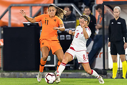 (L-R) Lieke Martens of The Netherlands women, Theresa Nielsen of Denmark women during the FIFA Women's World Cup 2019 play off first leg qualifying match between The Netherlands and Denmark at the Rat Verlegh stadium on October 05, 2018 in Breda, The Netherlands