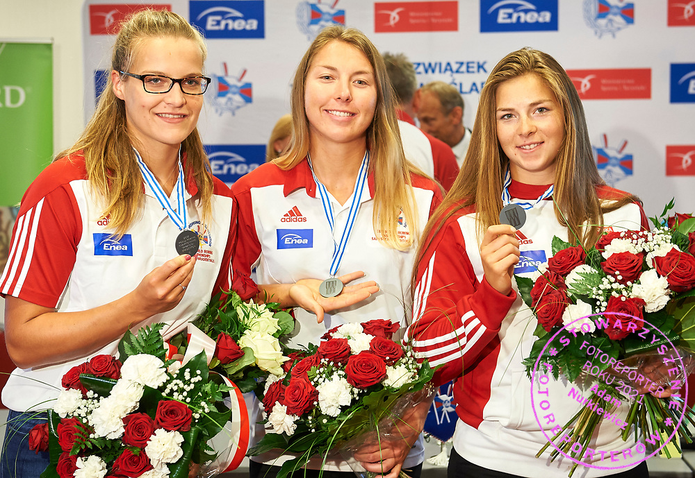 Warsaw, Poland - 2017 October 03: Maria Wierzbowska (RTW LOTTO Bydgostia) and Monika Ciaciuch (RTW LOTTO Bydgostia) and Joanna Dittmann (RTW LOTTO Bydgostia) Polish rowers W4- pose to the picture during press conference of Polish Rowing National Team at Chopin Airport on October 03, 2017 in Warsaw, Poland.<br /> <br /> Mandatory credit:<br /> Photo by &copy; Adam Nurkiewicz / Mediasport<br /> <br /> Adam Nurkiewicz declares that he has no rights to the image of people at the photographs of his authorship.<br /> <br /> Picture also available in RAW (NEF) or TIFF format on special request.<br /> <br /> Any editorial, commercial or promotional use requires written permission from the author of image.