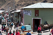 The weekly market in Simiatug Ecuador spreads through the streets of the small mountain town. Orlando Ayme sold two of his sheep at this weekly market in the indigenous community of Simiatug for $35 US in order to buy potatoes, grain and vegetables for his family.(Supporting image from the project Hungry Planet: What the World Eats.)(MODEL RELEASED IMAGE).