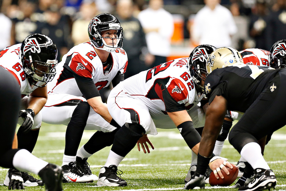 NEW ORLEANS, LA - NOVEMBER 11:  Matt Ryan #2 of the Atlanta Falcons under center during a game against the New Orleans Saints at Mercedes-Benz Superdome on November 11, 2012 in New Orleans, Louisiana.  The Saints defeated the Falcons 31-27.  (Photo by Wesley Hitt/Getty Images) *** Local Caption *** Matt Ryan