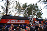 Jan 8, 2016; Scottsdale, AZ, USA; Clemson Tigers football players and family members arrive at the Hyatt Regency Scottsdale Resort at Gainey Ranch. Mandatory Credit: Jennifer Stewart-USA TODAY Sports