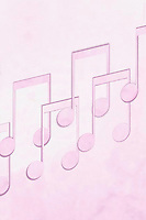 Misic notes on pink background
