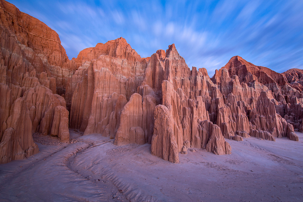 Twilight clouds over sandstone formations, Cathedral Gorge State Park, USA.