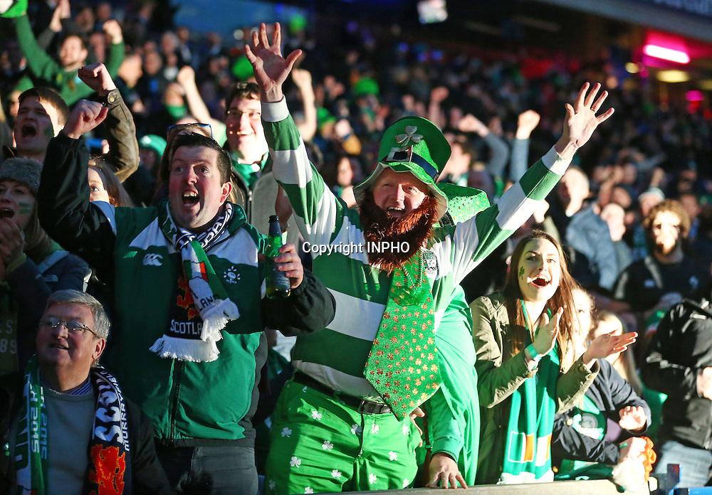 RBS 6 Nations Championship, BT Murrayfield, Edinburgh, Scotland 21/3/2015<br /> Scotland vs Ireland<br /> Ireland supporters celebrate<br /> Mandatory Credit &copy;INPHO/Cathal Noonan