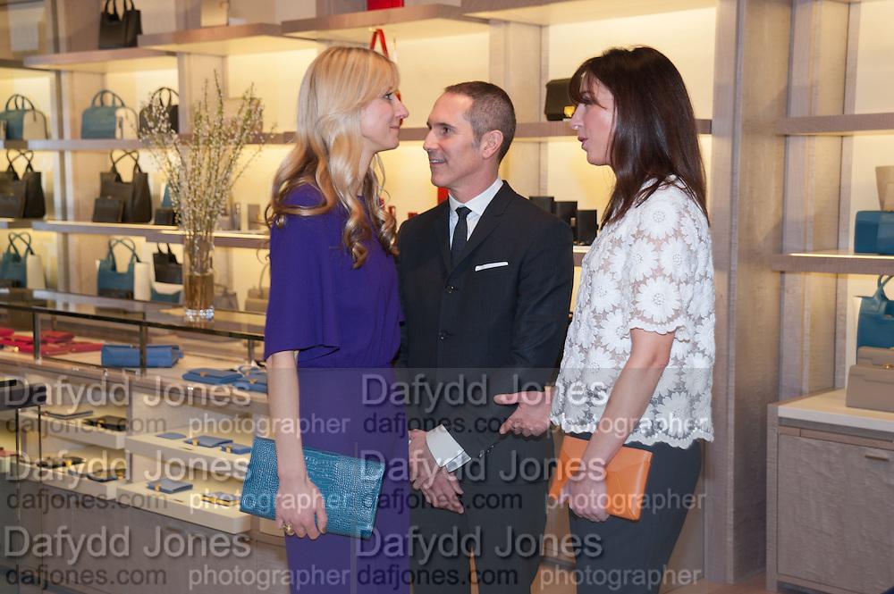 CALGARY AVANSINO; ANDY JANOWSKI; SAMANTHA CAMERON, Smythson Sloane St. Store opening. London. 6 February 2012.
