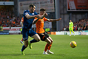 30th August 2019; Dens Park, Dundee, Scotland; Scottish Championship, Dundee Football Club versus Dundee United; Josh Todd of Dundee and Jamie Robson of Dundee United