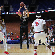 Mindaugas Kacinas, South Carolina, shoots during the St. John's vs South Carolina Men's College Basketball game in the Hall of Fame Shootout Tournament at Mohegan Sun Arena, Uncasville, Connecticut, USA. 22nd December 2015. Photo Tim Clayton