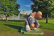 'Bears on Broadway' sculpture depicting the 'Winnipeg Blue Bombers' professional football team (CFL). <br /> Winnipeg<br /> Manitoba<br /> Canada