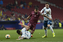 March 22, 2019 - Madrid, Madrid, Spain - Lionel Messi of Argentina fight the ball with Rincón of Venenzuela during the Friendly football match between Argentina and Venezuela at Wanda Metropolitano Stadium in 22 March 2019, Madrid, Spain, preparatory for the Copa América Brazil 2019 to be played from June 14 to July 7. (Credit Image: © Patricio Realpe/NurPhoto via ZUMA Press)