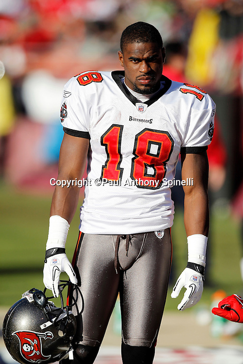 Tampa Bay Buccaneers wide receiver Sammie Stroughter (18) looks on during the NFL week 11 football game against the San Francisco 49ers on Sunday, November 21, 2010 in San Francisco, California. The Bucs won the game 21-0. (©Paul Anthony Spinelli)