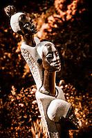 Zimsculpt at Van Dusen Botanical Garden: Grandmother, Mother & Daugher - springstone sculpture by Joe Mutasa (original sculpture available at www.zimsculpt.com)