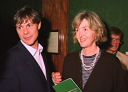 LADY SOPHIE MORRISON daughter of the Duke of Devonshire and MR WILL TOPLEY, at an exhibition in London on 14th July 1998.MJB 9