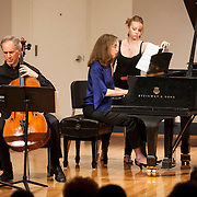 June 12, 2012 - New York, NY : Cellist Eric Bartlett, left, and pianist Margaret Kampmeier, center, perform Paul Suits's 'Fantasy' (1984, rev. 2011) during the Institute & Festival for Contemporary Performance 2012 at the Mannes Concert Hall in Manhattan on Tuesday night. CREDIT: Karsten Moran for The New York Times