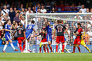 Diego Costa of Chelsea (3rd left) scores his team's first goal to make it 1-1 during the Barclays Premier League match at Stamford Bridge, London<br /> Picture by David Horn/Focus Images Ltd +44 7545 970036<br /> 13/09/2014