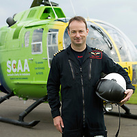 SCAA..Scotland's Charity Air Ambulance pilot John Stupart<br /> The helicopter is a Bolkow 105 supplied by Bond Aviation Services.<br /> Picture by Graeme Hart.<br /> Copyright Perthshire Picture Agency<br /> Tel: 01738 623350  Mobile: 07990 594431