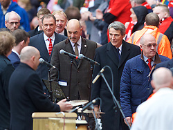 LIVERPOOL, ENGLAND - Friday, April 15, 2016: Former Liverpool players Phil Thompson, Bruce Grobbelaar, Alan Hansen and Phil Neal during the 27th Anniversary Hillsborough Service at Anfield. (Pic by David Rawcliffe/Propaganda)