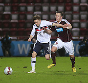 Dundee's Nicky Riley  and Hearts' Danny Wilson  - Hearts v Dundee in the Clydesdale Bank, Scottish Premier League at Tynecastle.. - © David Young - www.davidyoungphoto.co.uk - email: davidyoungphoto@gmail.com