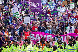 "© Licensed to London News Pictures . 29/09/2013 . Manchester , UK . A Unison lead demonstration titled "" Save our NHS "" through Manchester City Centre today (Sunday 29th September 2013) coinciding with the Conservative Party Conference in the city . Photo credit : Joel Goodman/LNP"