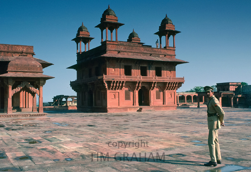 Guard at Fatehpur Sikri 17th Century city capital of Mughal Empire UNESCO WORLD HERITAGE site, Agra district, Uttar Pradesh, India