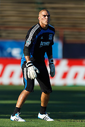 July 20, 2011; Santa Clara, CA, USA;  San Jose Earthquakes goalkeeper Andrew Weber (13) warms up before the game against the Vancouver Whitecaps at Buck Shaw Stadium. San Jose tied Vancouver 2-2.