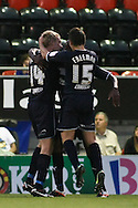 Picture by David Horn/Focus Images Ltd +44 7545 970036.21/08/2012.Stevenage celebrate during the npower League 1 match at the Matchroom Stadium, London.