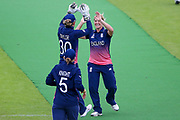 England womens cricket player Katherine Brunt bowls Pakistan womens cricket player Javeria Wadood  and celebrates during the ICC Women's World Cup match between England and Pakistan at the Fischer County Ground, Grace Road, Leicester, United Kingdom on 27 June 2017. Photo by Simon Davies.