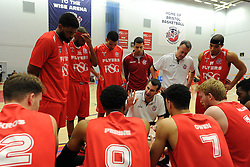 Bristol Flyers' coach, Andreas Kapoulas instructs his players during a time-out in the BBL game between Bristol Flyers and Worcester Wolves at Wise Basketball Arena on January 17, 2015 in Bristol, England. - Photo mandatory by-line: Paul Knight/JMP - Mobile: 07966 386802 - 17/01/2015 - SPORT - Football - Bristol - SGS Wise Arena - Bristol Flyers v Worcester Wolves - Bristol Basketball League