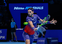 Tennis - 2019 Nitto ATP Finals at The O2 - Day Six<br /> <br /> Doubles Group Max Mirnyi: Juan Sebastien Cabal (COL) & Robert Farah (COL) Vs. Kevin Krawietz (GER) & Andreas Mies (GER)<br /> <br /> Robert Farah (COL) with a with a backhand return of serve<br /> <br /> <br /> COLORSPORT/DANIEL BEARHAM