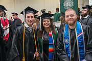 (Left to Right) Connor McChrystal, Tajha Laflore and Ethan Stupka at undergraduate commencement. Photo by Ben  Siegel