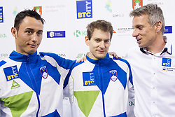 Athletes Alen Dimic, Mitja Petkovsek and Aljaz Pegan of Slovenia when Aljaz retires after succesfsul gymnastics career during Final day 2 of Artistic Gymnastics World Cup Ljubljana, on April 27, 2013, in Hala Tivoli, Ljubljana, Slovenia. (Photo By Vid Ponikvar / Sportida.com)