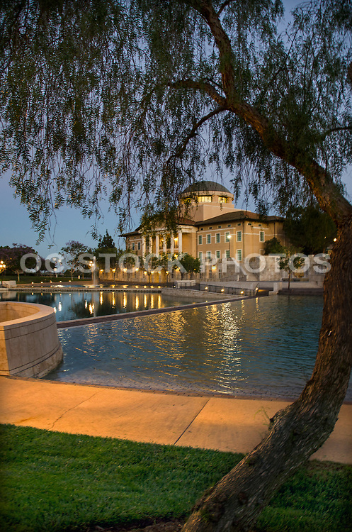 Founders Hall and Peace Lake at Soka University Aliso Viejo
